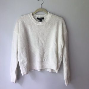 SUPER soft fuzzy cream/ white sweater